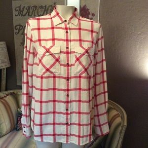 J. Crew Red Check Button Front Shirt 2